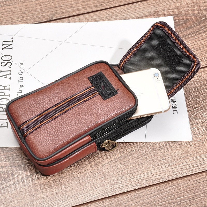Yambuto multi-função telefone usar cinto bolso sólido zíper porta tarjetas heuptas heren presente moda pu couro masculino cintura saco