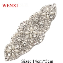 WENXI-ceinture de mariée faite à la main   10 pièces, ceinture de mariée en strass avec des perles de protéines, Patch pour ceinture de robe de mariée WX848