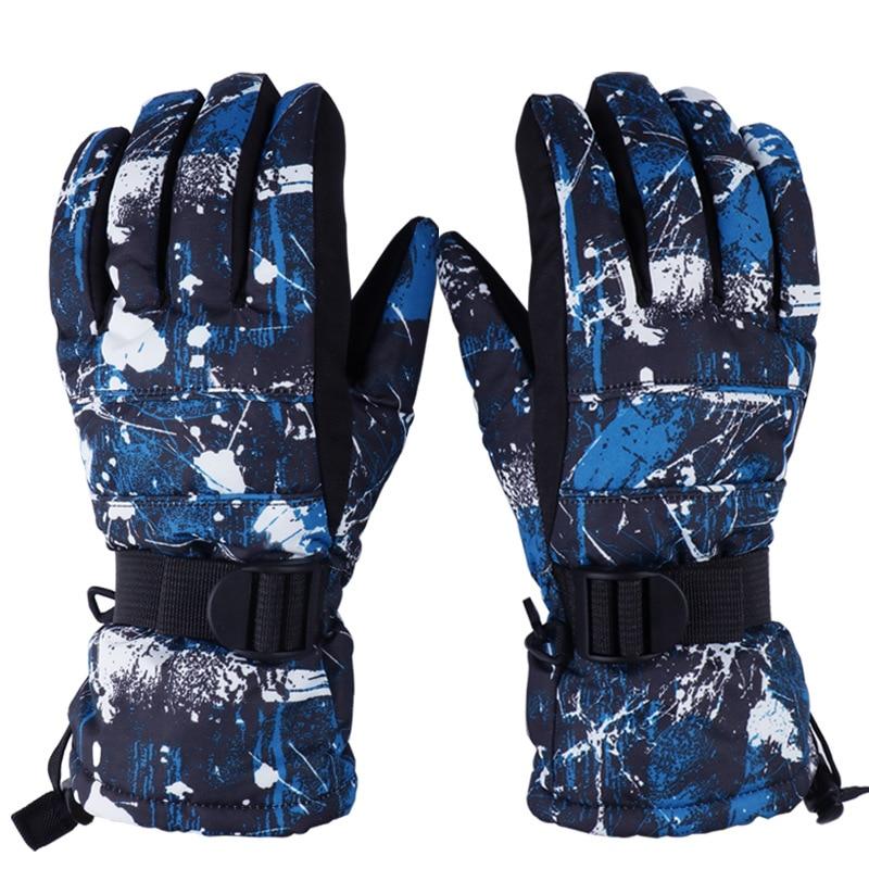 Guantes de esquí para adultos, resistentes al viento, impermeables, para hombre y mujer, guantes gruesos de invierno para motociclismo, guantes para Snowboard, guantes Unisex para nieve, 9 colores
