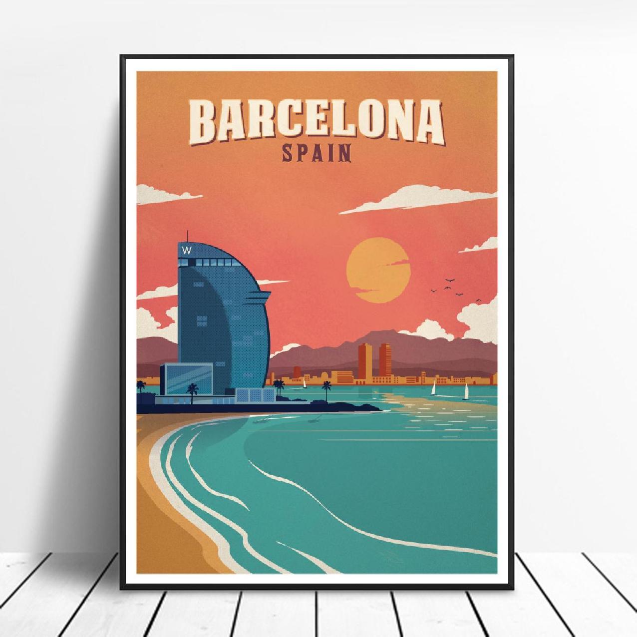 Cuadro de lona VINTAGE de BARCELONA, impresión artística de Canadá, póster de...