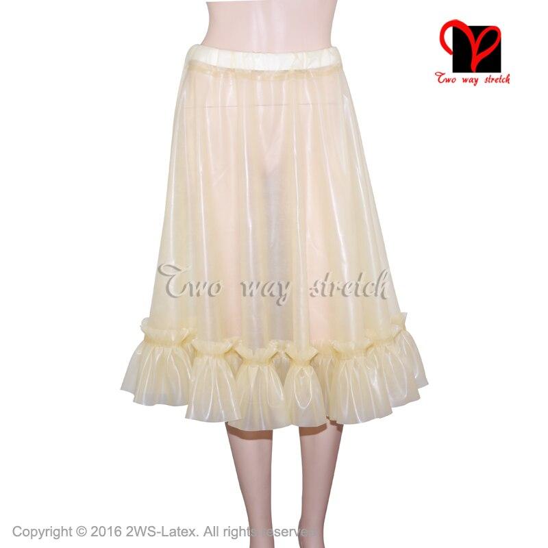 Sexy Transparent Natural Latex skirt With frills Rubber miniskirt Gummi Playsuit Bodycon mini skirt size XXXL QZ-088