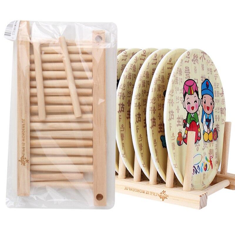 Calidad plegable de madera 8 rejilla multifunción escurridor portavasos plato estante de almacenaje para cocina estantería platos escurridor