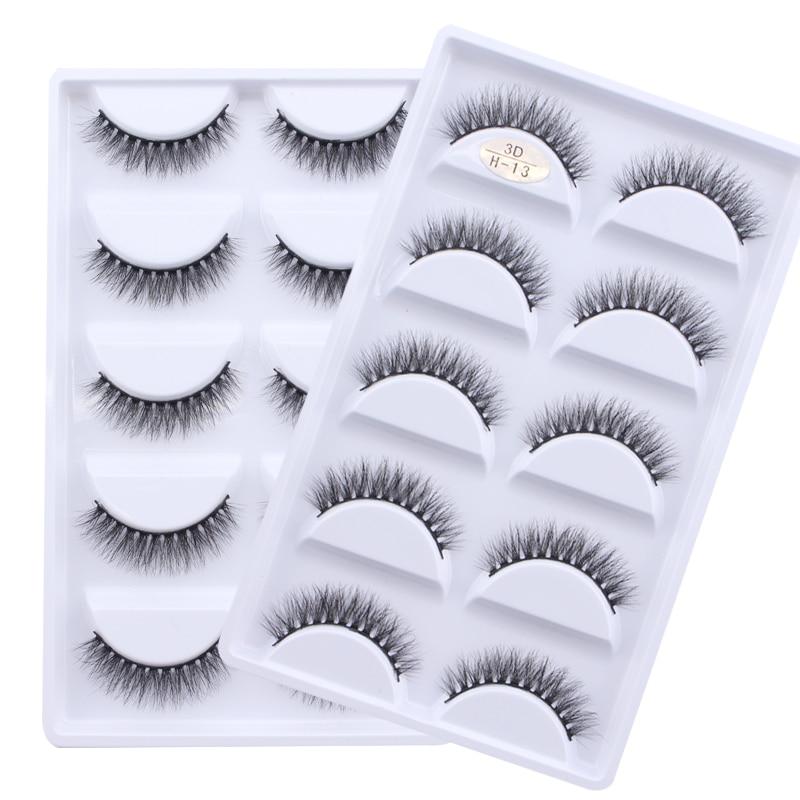13 estilos diferentes 5 pares 100% pestañas postizas de visón reales 3D suaves pestañas postizas naturales maquillaje pestañas largas extensión de pestañas cilios