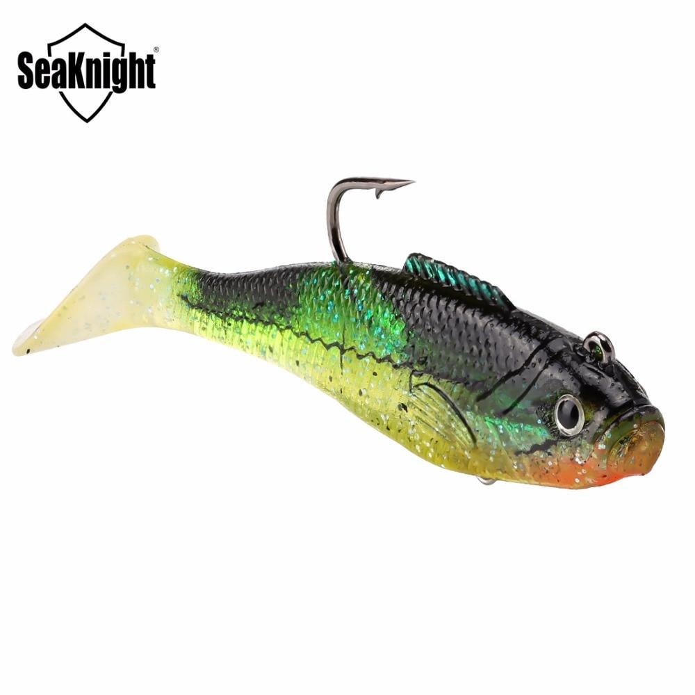 SeaKnight Мягкая приманка SL005, Мягкая приманка 16 г, 90 мм, 3,5 дюйма, 4 шт., с крючками, свинцовая головная Мягкая приманка, 3D глаза, приманка для рыбы н...