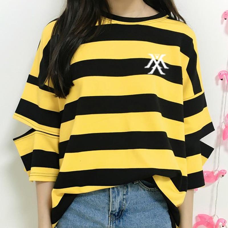 Camiseta a rayas con estampado de logotipo Monsta x para fans de kpop, camiseta de manga hueca a la moda de apoyo con cuello redondo para verano, talla única