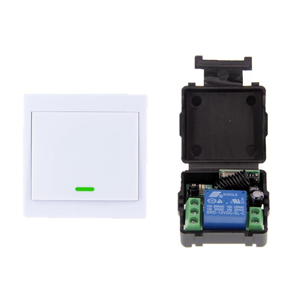 Sistema conmutador de control remoto inalámbrico RF de 12V CC de tamaño pequeño 1CH 1 CH 10A, receptor + 86 transmisor de Panel de pared, 315/433 MHz