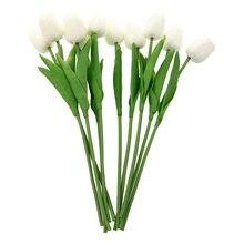 Bouquet Latex tulipe blanc 10 pièces   Touche réelle, pour Bouquet de mariage KC456