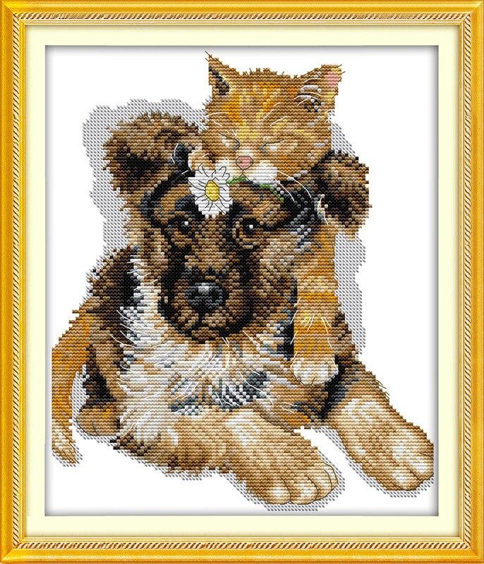 Los gatos dormidos en el perro impreso en lienzo DMC conteo chino punto de cruz conjunto de punto de cruz bordado costura