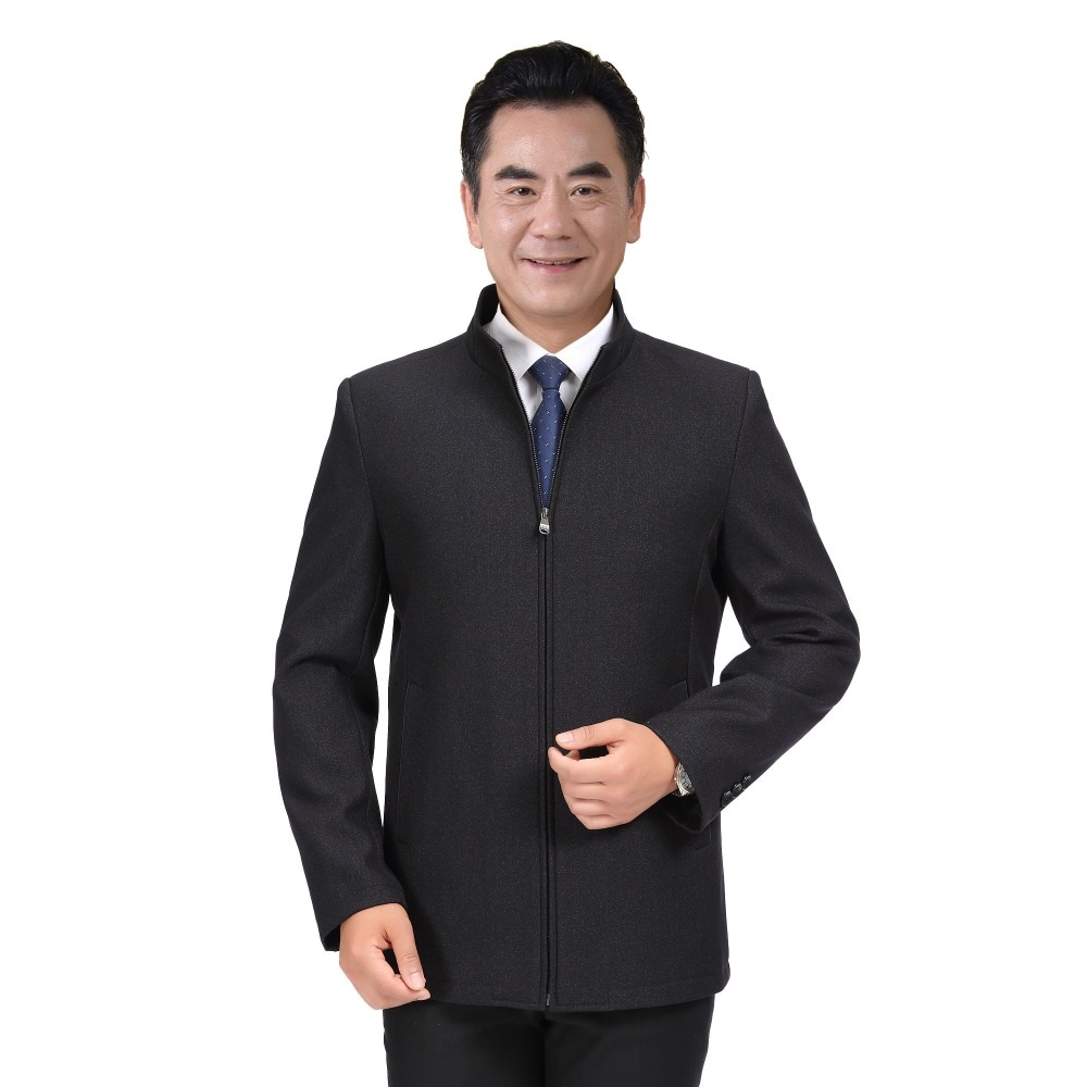 WAEOLSA Mature Men Elegant Jackets Black Outerwear Zipper Front Basic Coat Aged Man Wool Blend Jacket Father Outfits Spring 2019