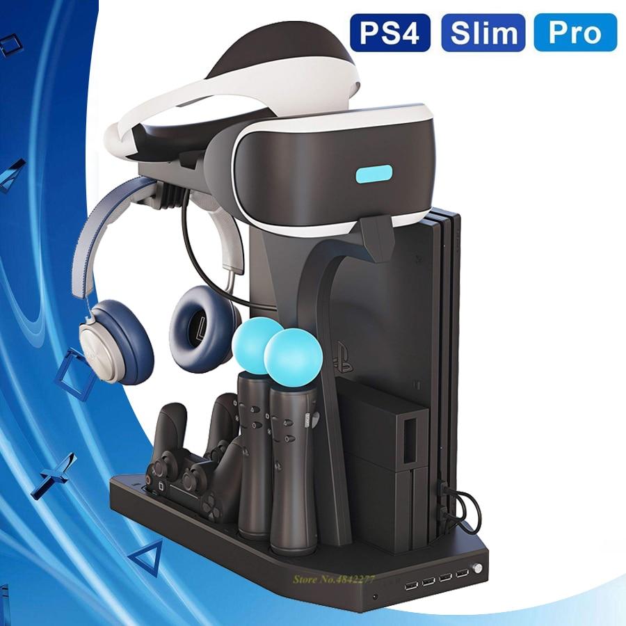PS 4 Pro тонкий вертикальный стоячий охлаждающий вентилятор, кулер, зарядное устройство, дисплей, база PS4 VR Play Station 4 PSVR, витрина, аксессуары