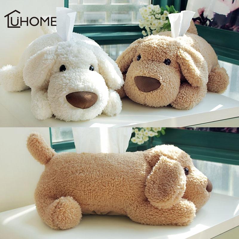 Adorável pelúcia cão de pelúcia caixa de tecido titular caso de tecido filhote de cachorro papel guardanapo titular para o carro casa decoração do quarto das crianças