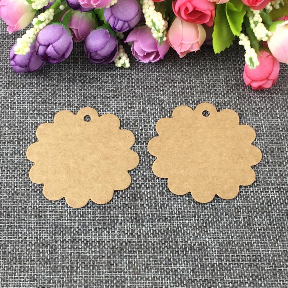 200 Uds DIY 6x6cm etiqueta colgante festoneada boda marrón papel Kraft regalo etiqueta bolsa para paletas Bonbonniere Favor etiquetas de regalo