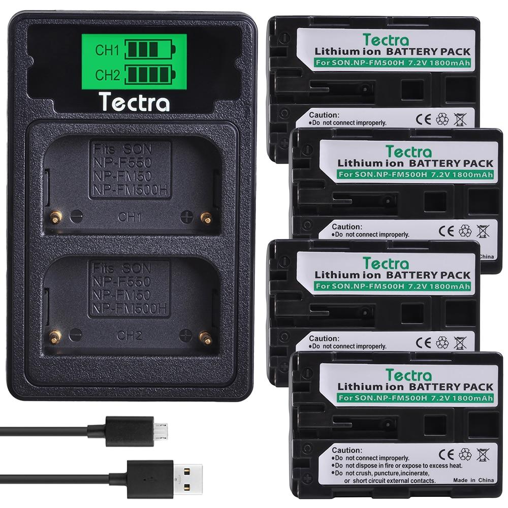 4 Uds 1800mAh NP-FM500H NPFM500H batería + LCD cargador para Sony Alpha...