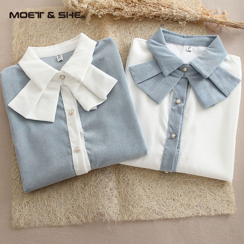 Corduroy Blouse  Women Cotton Detacha Bowknot Neckline Turn-Down Collar Long Sleeve Tops Shirt Blusas Feminina BlouseT6N8205Y