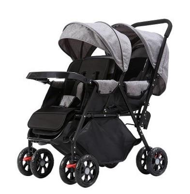 Cochecito de bebé gemelo, puede sentarse, doblar, ligero, doble mano, empujar Buggies 2 en 1, cochecito de bebé, cochecito de bebé Doble