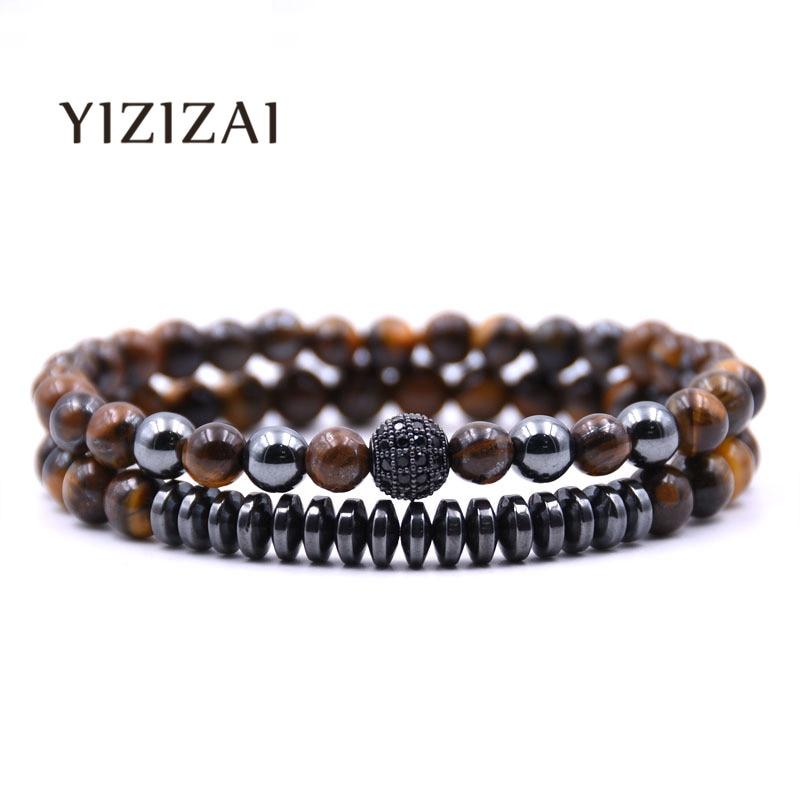 YIZIZAI, nueva pulsera de abalorios de moda para parejas, joyería para hombres, pulseras y brazaletes de bolas de 6mm, pulsera Masculina para mujeres, hecha a mano