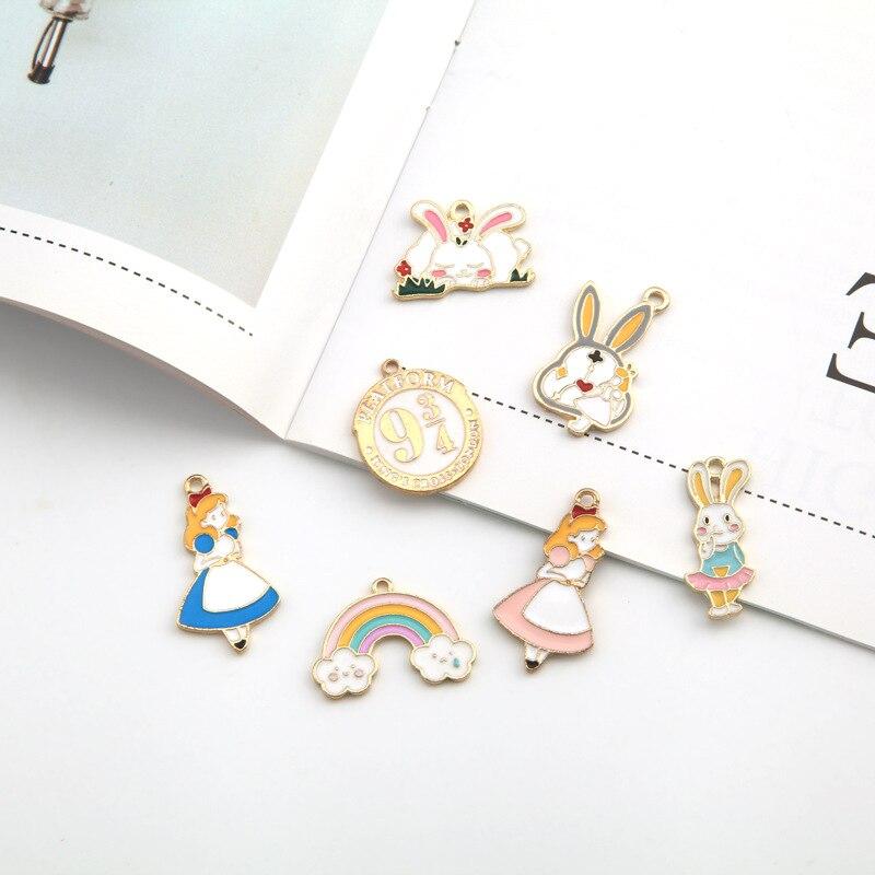 10pcs Alice Girl Rabbit Rainbow Enamel Charms Drop Oil Animal Pendants DIY Bracelet Earrings Fashion Jewelry Accessory New YZ550