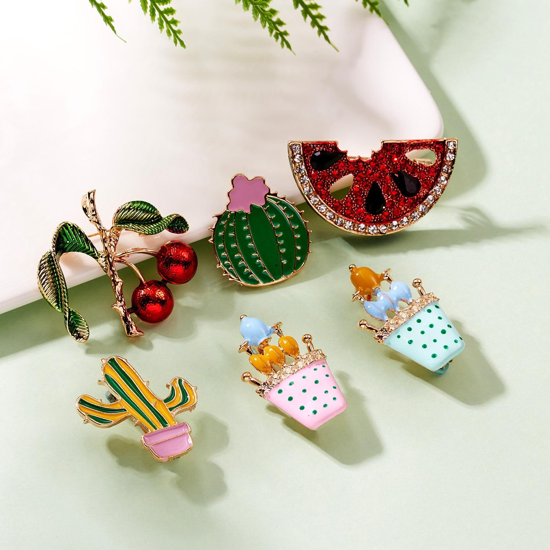 6 pines lindos Cactus de dibujos animados sandía cereza broches para mujeres exquisita planta colorida fruta Pins joyería esmalte Pin baratijas