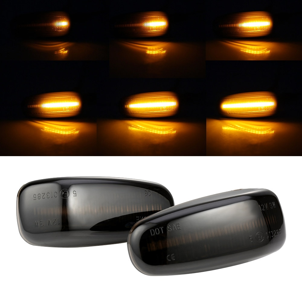 2 uds indicador lateral dinámico luz intermitente secuencial luz de giro para mercedes-benz Clase E W210 Clase C W202 W208