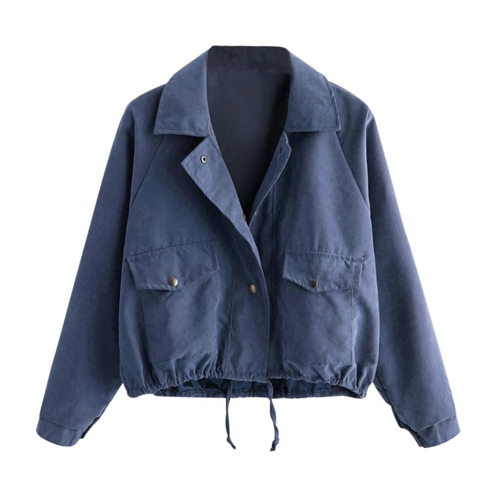 Moda mujer otoño abrigo corto botón bolsillo decoración chaqueta sólido mujer Cardigan...