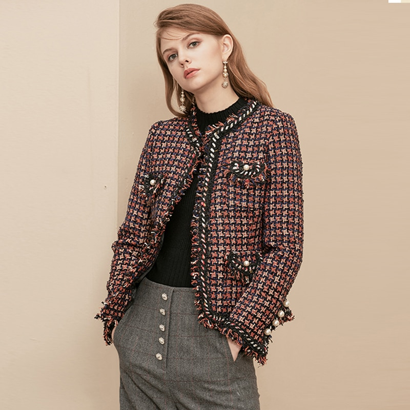 Chaqueta escocesa roja de Primavera/otoño 2020, chaqueta de mujer con cuello redondo y flecos, chaqueta fina de lana de invierno para Hermanas con pata de gallo