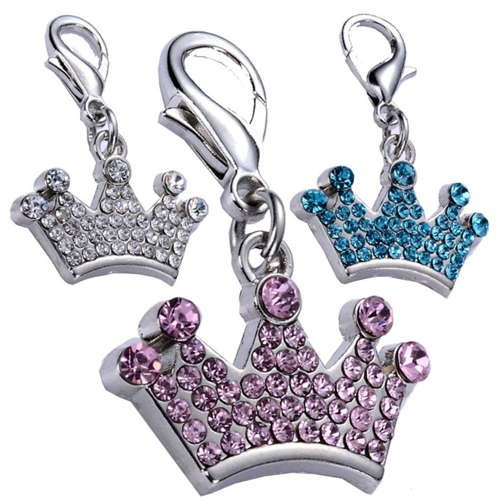 Tag do animal de estimação Bonito Colar de Perfuração de Diamante Da Coroa Imperial Jóias Tag de Cão Do Gato do animal de Estimação pet fornecimentos acessórios colarinho Pet 3x2 cm Z625
