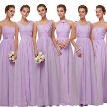 Beauté-Emily mousseline De soie rose robes De demoiselles dhonneur 2020 longue pour les femmes a-ligne De mariage fête fille robe Vestido De Festa grande taille