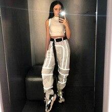 Pantalons femmes pole dance rave vêtements vêtements holographiques pantalons de danse de rue sarouel réfléchissant vêtements hip hop