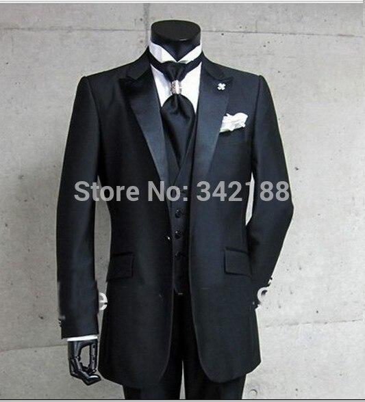FREE SHIPPING!Real Photo One Button Black Groom Tuxedos/Peak Satin Lapel Best man Groomsman Men Wedding Suits/Bridegroom tuxedos