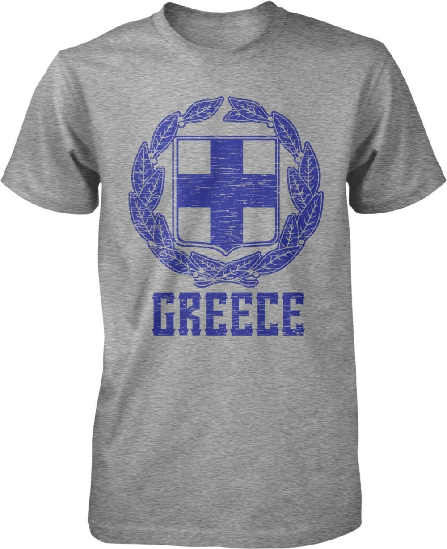 Grecia, Escudo de Armas, República Helénica, cruz blanca, camisetas estampadas de algodón para hombre con letras 3D