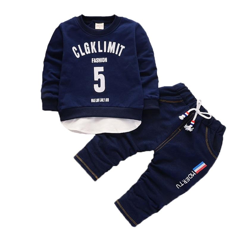 Moda crianças meninos meninas roupas de algodão ternos primavera outono bebê camiseta calças 2 pçs/sets conjuntos de esportes da criança crianças treino