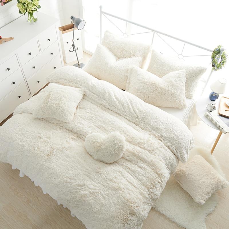 Однотонные комплекты постельного белья принцессы, роскошные комплекты из 3/4/6/7 предметов, Белоснежка, ягненок, шерстяная кровать, юбка, подо...