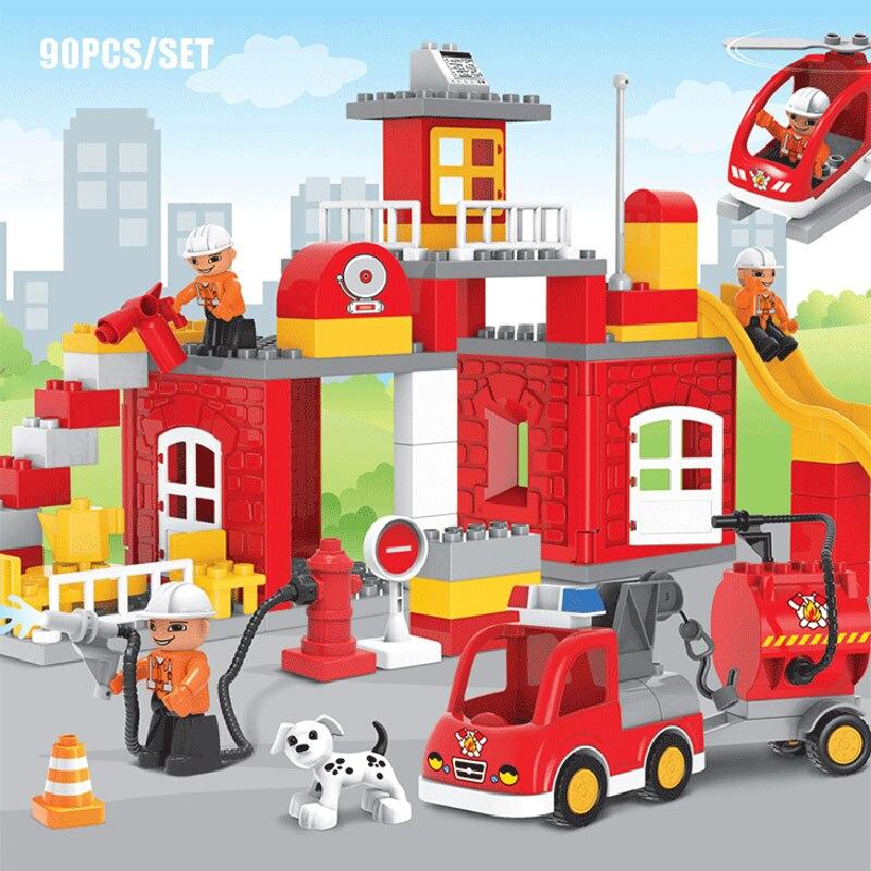 Tamaño grande 90 Uds. Estación de bomberos modelo de motor de bomberos bloques de construcción figura de bombero juguetes educativos para niños Compatible Duploe