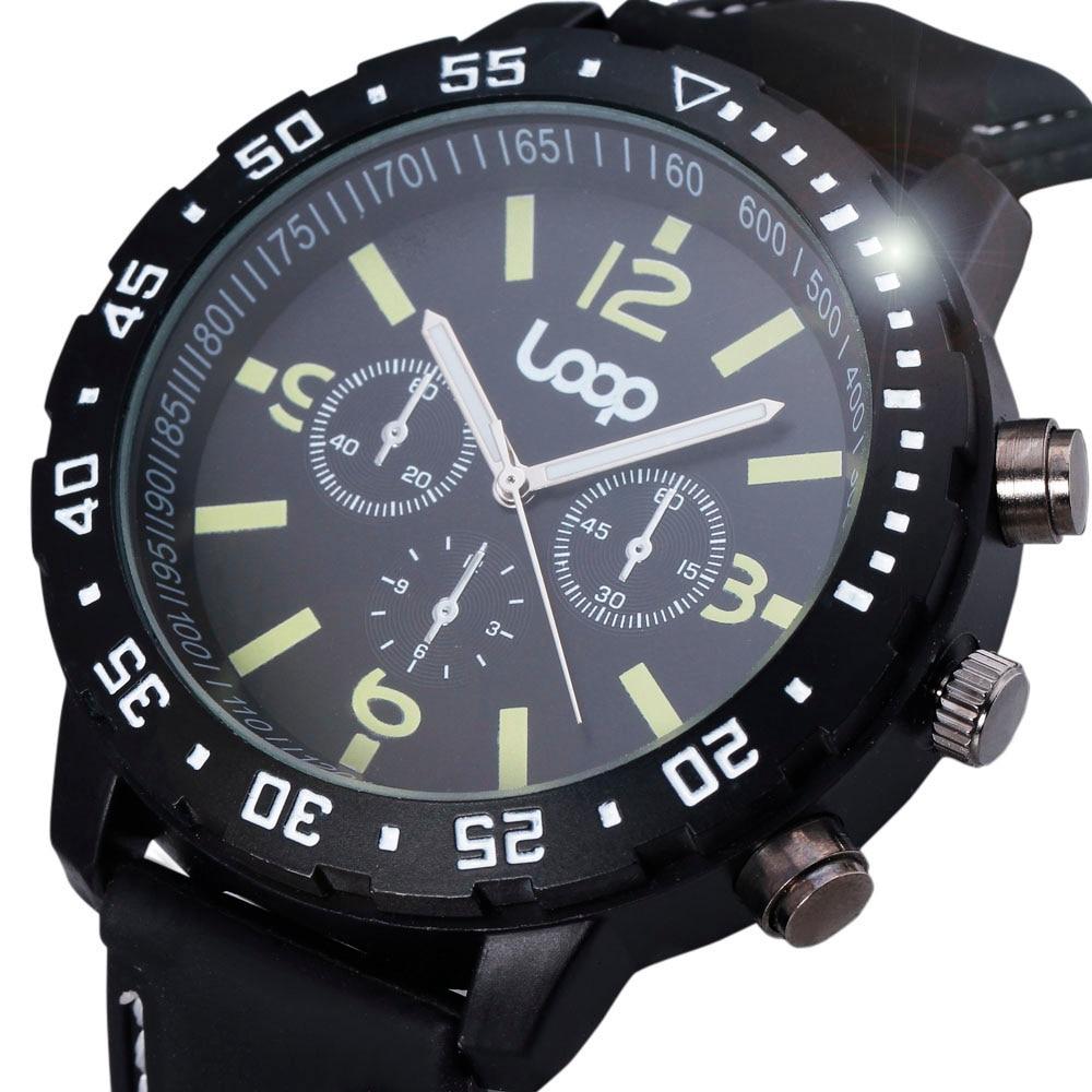 V6 Fashion Casual zegarki kwarcowe mężczyźni obróć Bezel Design Loop Logo męskie zegarki sportowe armia zegar gumką zegarek wojskowy prezent