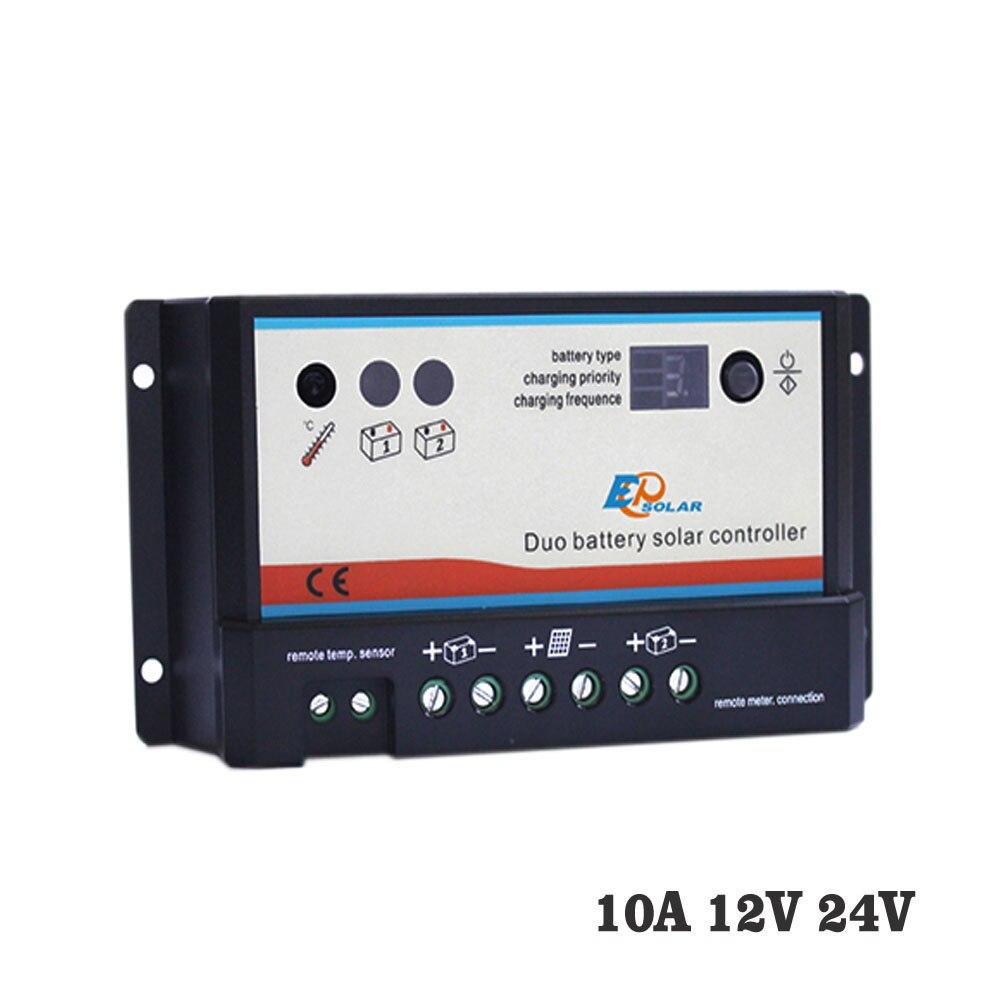 Regulador de carga Solar 10A, 12V, 24V, PWM, EPIPDB-COM, Dual Duo, dos baterías epsolar
