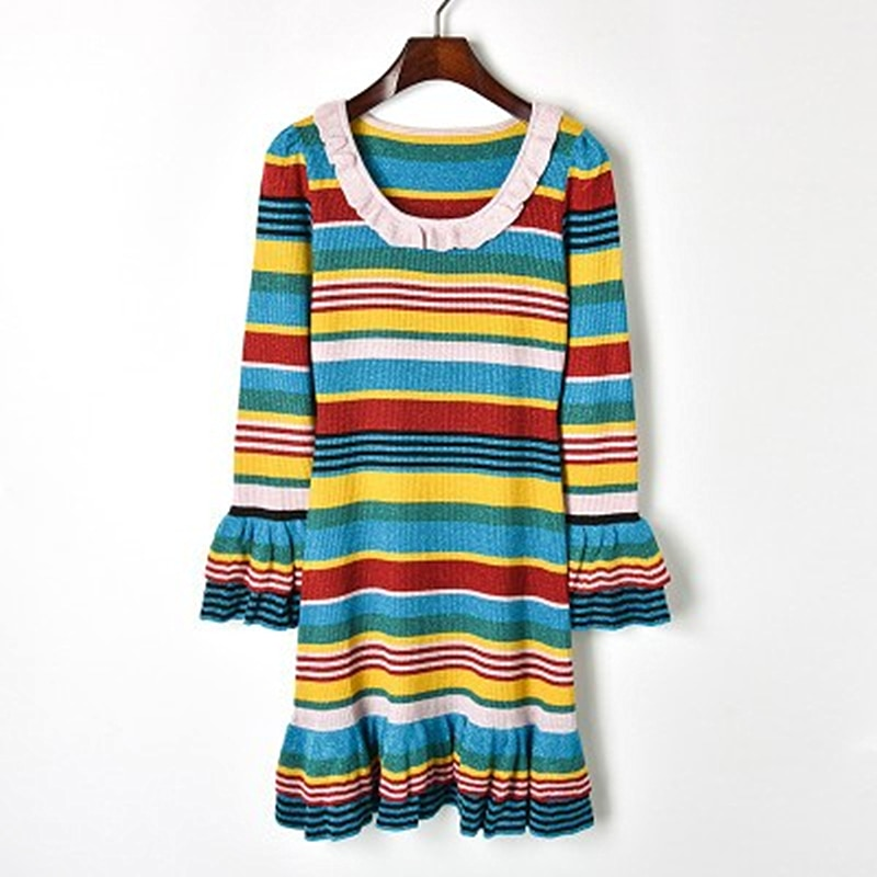 2018 New Contrast Color Striped Gold Lace Ruffled Knit Skirt Knit Ruffled Sleeve Dress Round Neck Fashion High Waist Slim enlarge