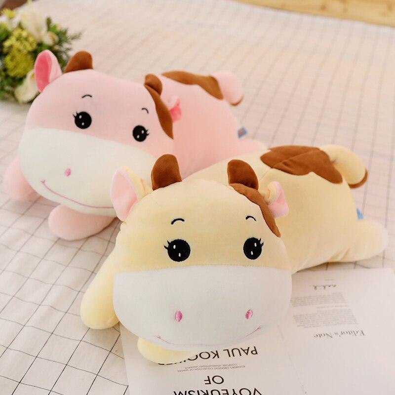 Игрушка плюшевая супер кавайная корова 1 шт., мягкая набивная кукла-животное из мультфильма, сопровождающая игрушка для девочек, подарок на ...
