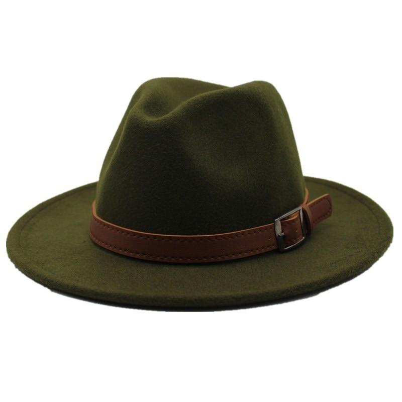 Seioum Special Felt Hat Men Fedora Hats with Belt Women Vintage Trilby Caps Wool Fedora Warm Jazz Ha