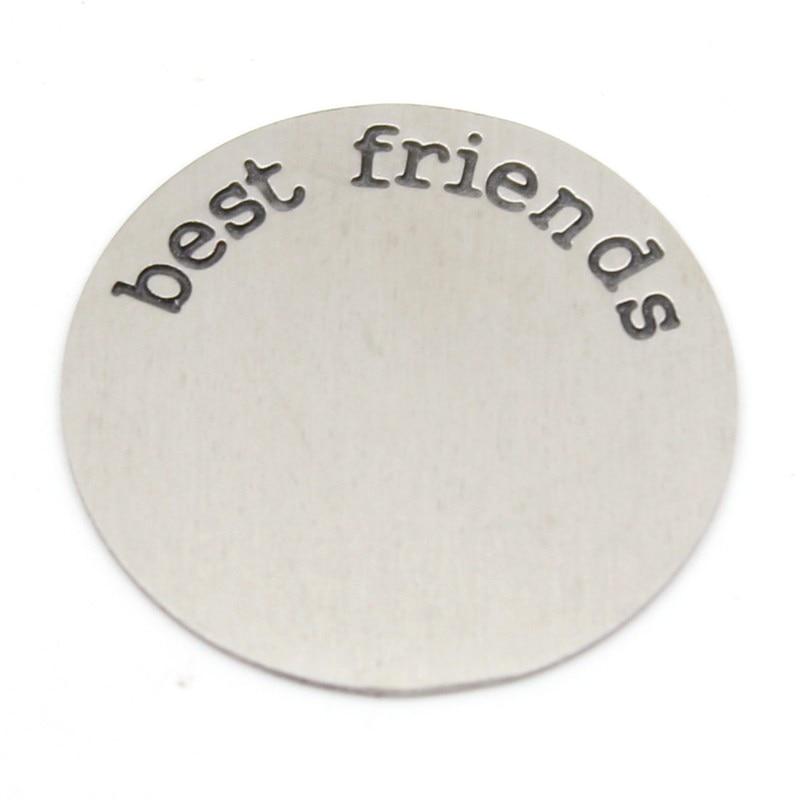 "Carvort 22.5mm  316L Stainless steel   Silve word "" best friend"" plates for 30mm round locket"