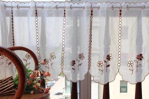 Weiß Nachahmung baumwolle garn/tüll kaffee blume ausschnitt kleine kaffee vorhang halbschatten kurz küche römische vorhänge