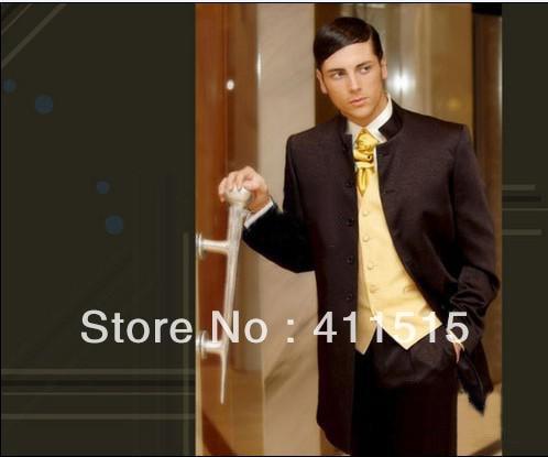 free shipping/custom men dress/Groom wear Tuxedos Best Man Mandarin Lapel Groomsmen Men Wedding Suits Bridegroom/custom tuxedo