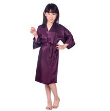 Bébé fille soie Satin Robe solide nuit Robe mode peignoir enfants demoiselle dhonneur Robe.