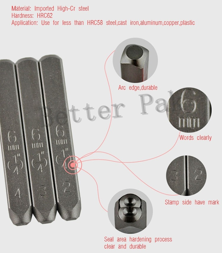 8/10MM English Alphabets Standard font style BateRpak letters steel punch stamp,(A-Z and & )  27pcs/box enlarge