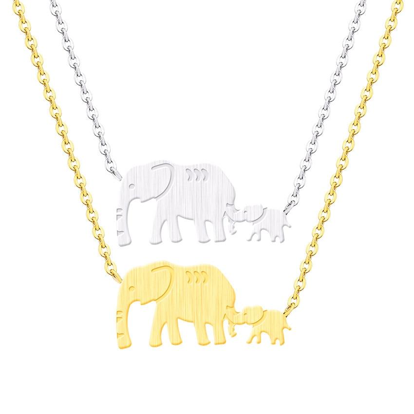 Venta al por mayor 10 piezas de acero inoxidable Animal Vintage joyería doble elefante colgante collares mamá regalos hermana Collier Bijoux