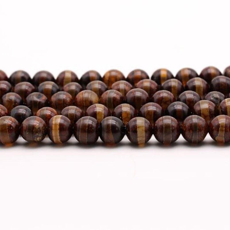 8-12mm redondo marrón oscuro tibetano budismo cuentas caparazón de tortuga DZI cuentas de ágata para la fabricación de joyas 15 cuentas de Buda DIY