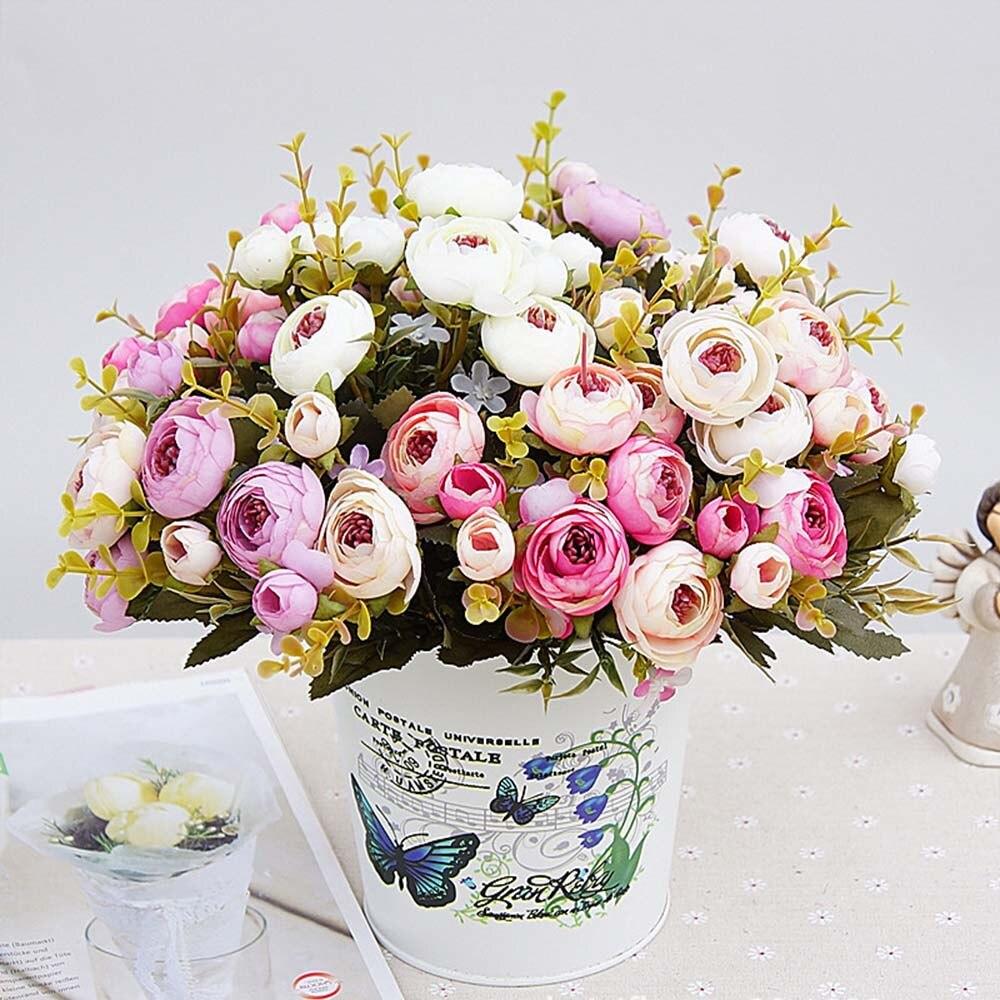 1 ramo de flores artificiales Flor de seda barata flor Europea caída pequeño té hoja falsa boda fiesta en casa jarrones para Decoración