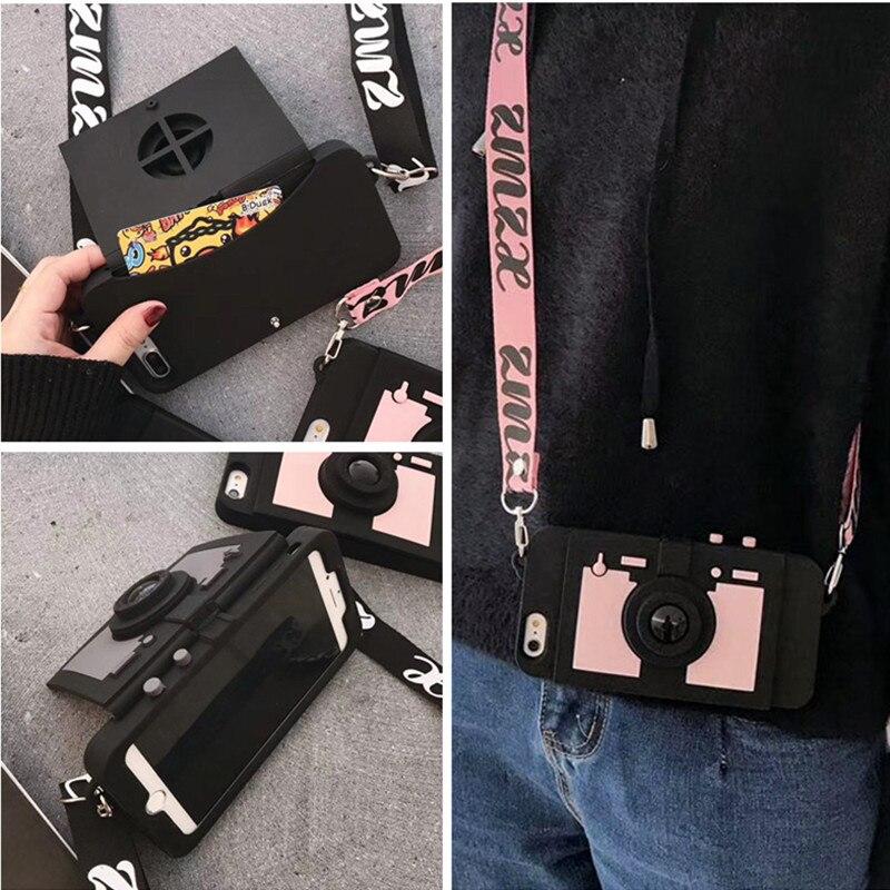 3D Rétro Caméra Portefeuille Carte support pour étui de téléphone portable Pour iPhone 11 pro Max XS MAX XR 7 8 plus 6 X Silicone Souple Couverture Arrière Avec st