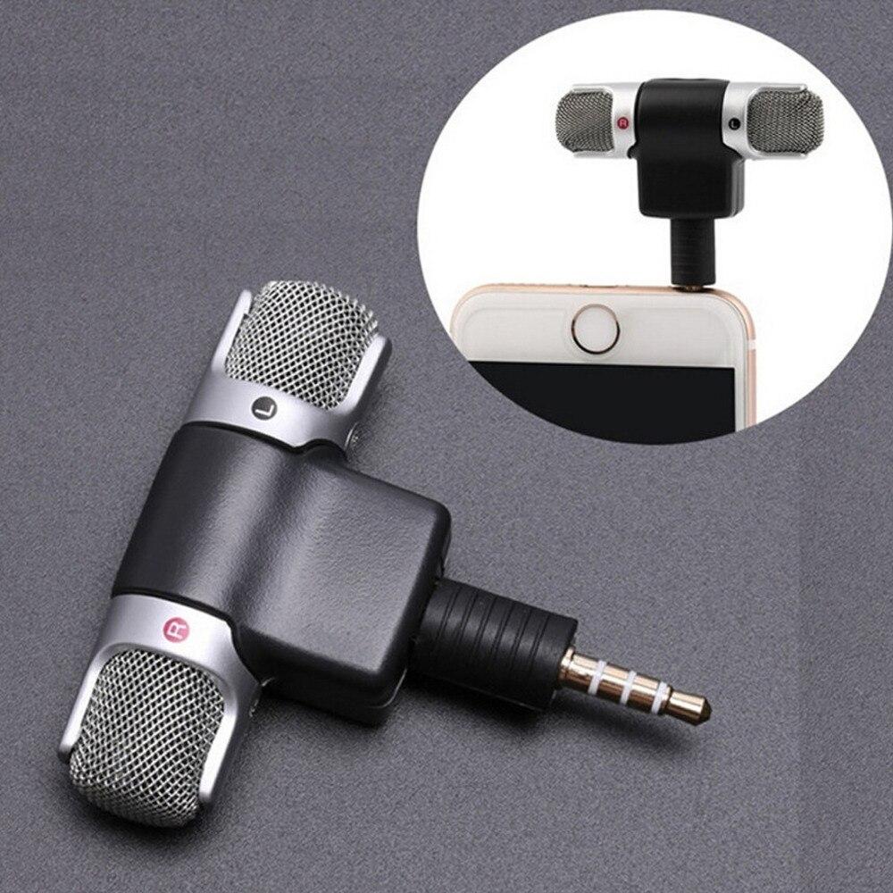 Marsnaska 3.5mm interface portátil mini microfone estéreo digital para gravador de telefone móvel