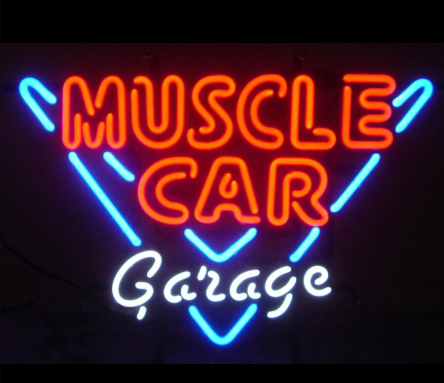 Costume Muscle Car Garage Bar Cerveja Sinal da Luz de Néon de Vidro