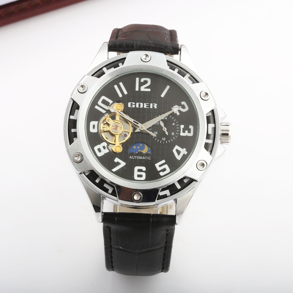 reloj hombre GOER Mens Watches Top Brand Luxury Sport Leather Strap Waterproof Automatic Mechanical